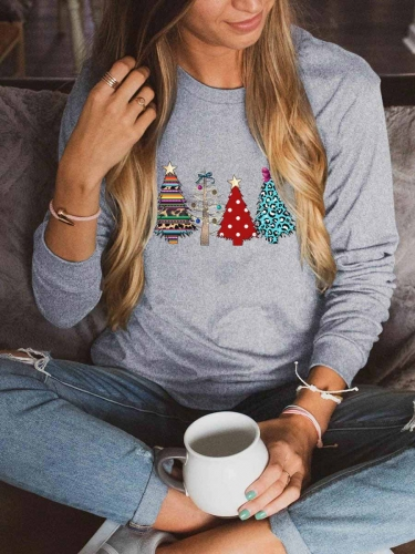 [US FAST DELIVERY] Christmas Trees Leopard Polka Dot Printed Sweatshirt
