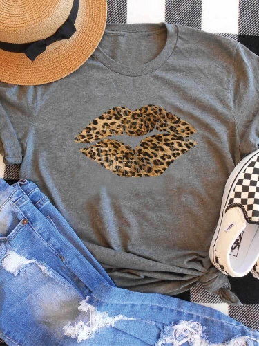 Leopard Lips Gray Printed Tee