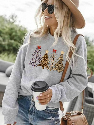 [US FAST DELIVERY] Leopard Printed Christmas Trees Sweatshirt