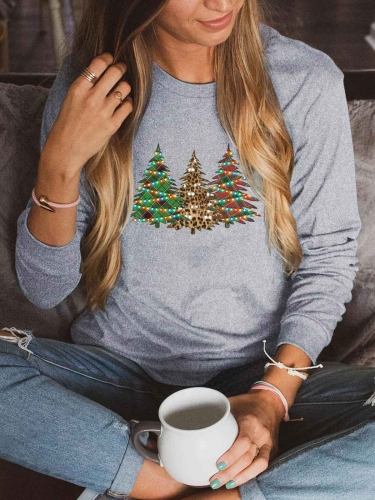 [US FAST DELIVERY] Christmas Lights Decorated Trees Sweatshirt
