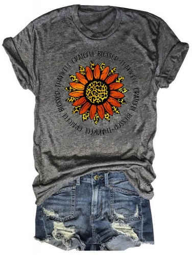 Sunflower Thankful Grateful Blessed Tee