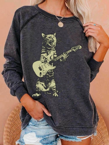 Cat Playing Guitar Funny Cute Sweatshirt