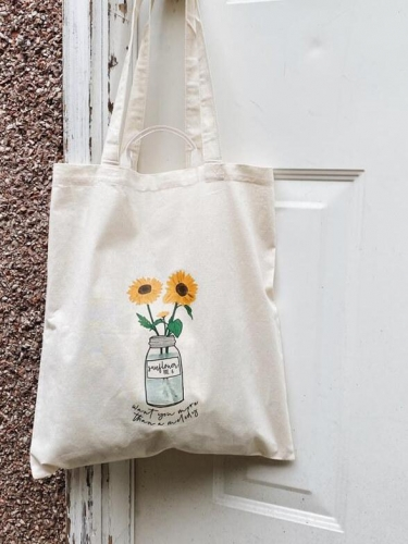 Want You More Than A Melody Sunflower Canvas Tote Bag