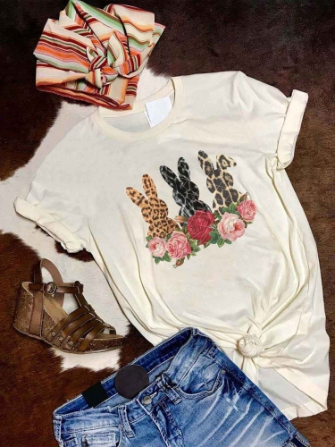 Rose Bunny Leopard Print Tee