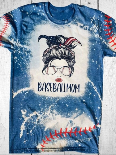 [PRE-SALE] Baseball Mom With Sunglasses & Flag Tie Bleached Tee