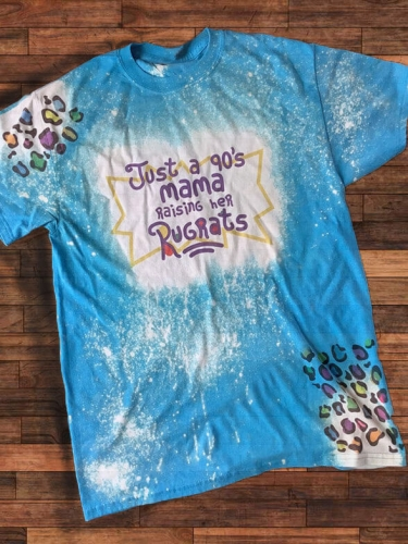 [PRE-SALE] Just A 90's Mama Raising Her Rugrats Blue Bleached Tee